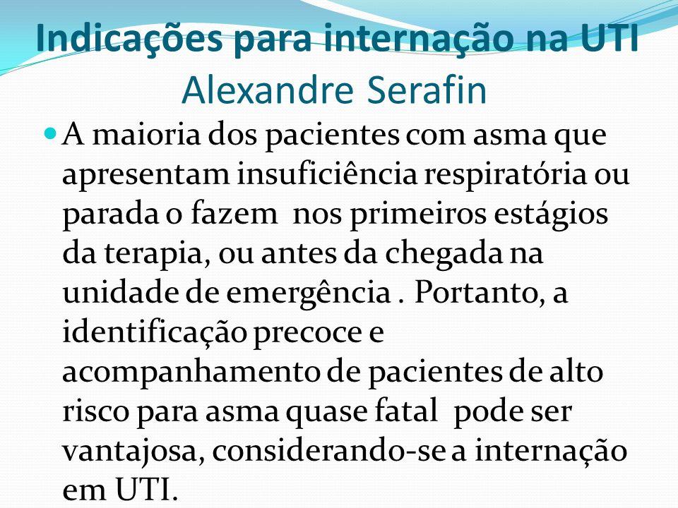 Indicações para internação na UTI Alexandre Serafin A maioria dos pacientes com asma que apresentam insuficiência respiratória ou parada o fazem nos p