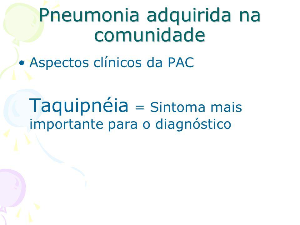 Aspectos clínicos da PAC Taquipnéia = Sintoma mais importante para o diagnóstico Pneumonia adquirida na comunidade