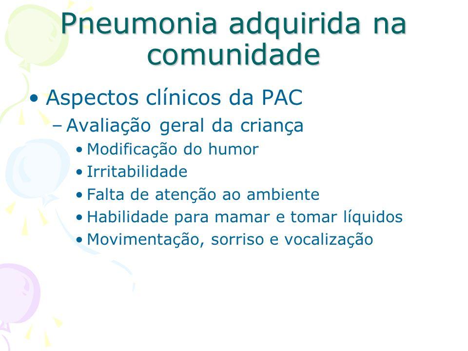 Aspectos clínicos da PAC –Avaliação geral da criança Modificação do humor Irritabilidade Falta de atenção ao ambiente Habilidade para mamar e tomar lí