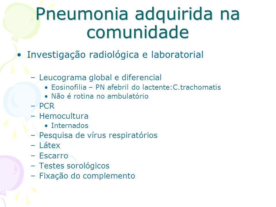 Investigação radiológica e laboratorial –Leucograma global e diferencial Eosinofilia – PN afebril do lactente:C.trachomatis Não é rotina no ambulatóri