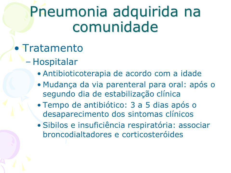 Tratamento –Hospitalar Antibioticoterapia de acordo com a idade Mudança da via parenteral para oral: após o segundo dia de estabilização clínica Tempo