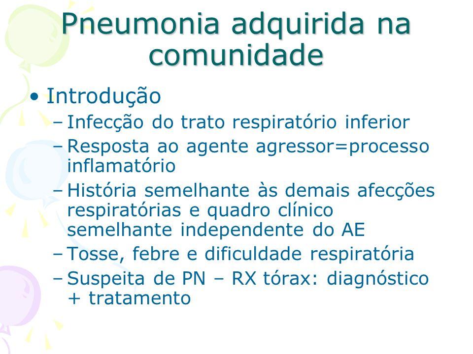 Investigação radiológica e laboratorial –Leucograma global e diferencial Eosinofilia – PN afebril do lactente:C.trachomatis Não é rotina no ambulatório –PCR –Hemocultura Internados –Pesquisa de vírus respiratórios –Látex –Escarro –Testes sorológicos –Fixação do complemento Pneumonia adquirida na comunidade
