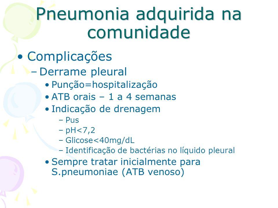 Complicações –Derrame pleural Punção=hospitalização ATB orais – 1 a 4 semanas Indicação de drenagem –Pus –pH<7,2 –Glicose<40mg/dL –Identificação de ba
