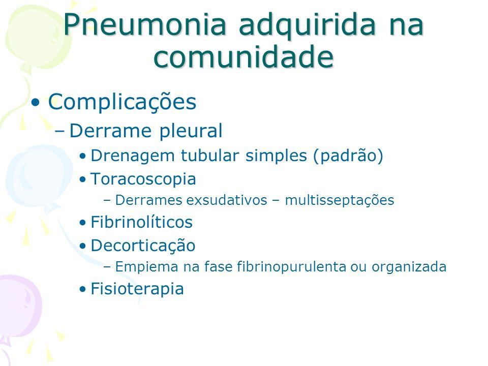 Complicações –Derrame pleural Drenagem tubular simples (padrão) Toracoscopia –Derrames exsudativos – multisseptações Fibrinolíticos Decorticação –Empi