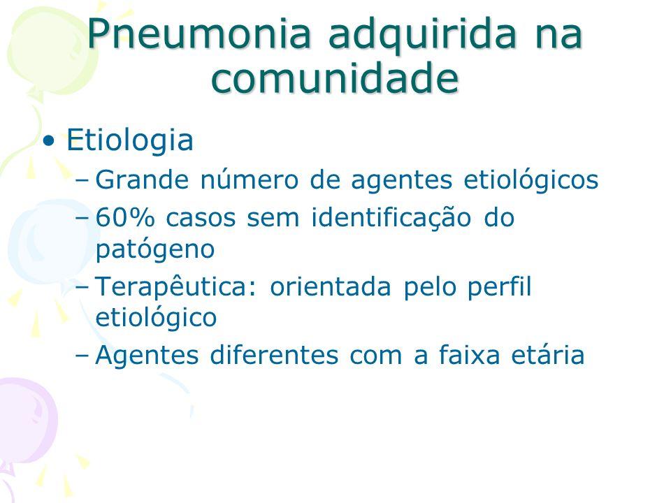 Etiologia –Grande número de agentes etiológicos –60% casos sem identificação do patógeno –Terapêutica: orientada pelo perfil etiológico –Agentes difer