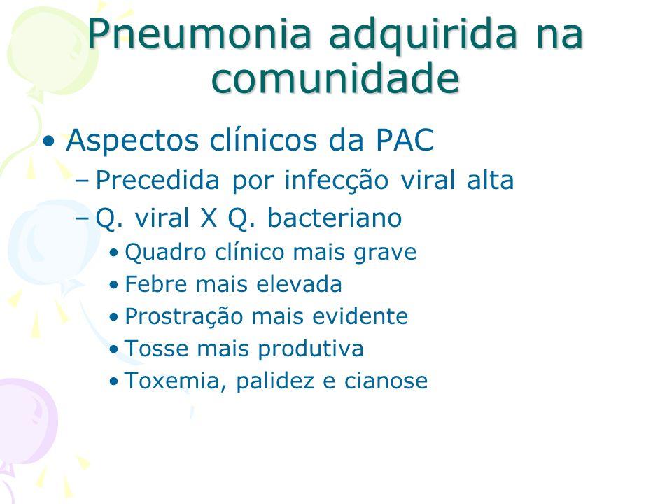 Aspectos clínicos da PAC –Precedida por infecção viral alta –Q. viral X Q. bacteriano Quadro clínico mais grave Febre mais elevada Prostração mais evi