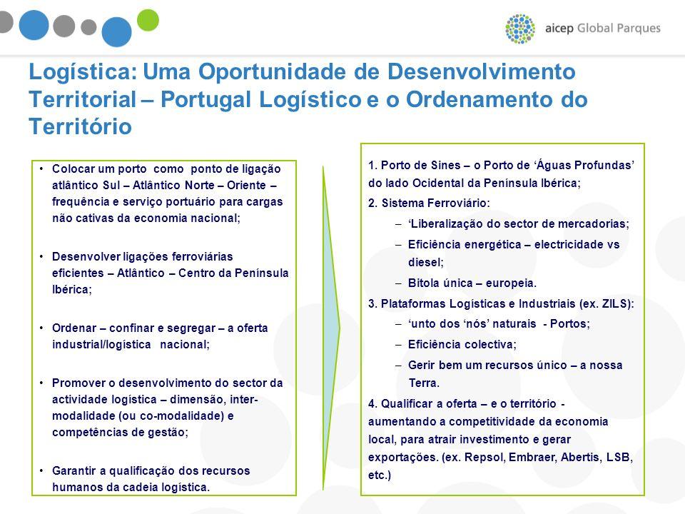 Logística: Uma Oportunidade de Desenvolvimento Territorial – Portugal Logístico e o Ordenamento do Território Colocar um porto como ponto de ligação a