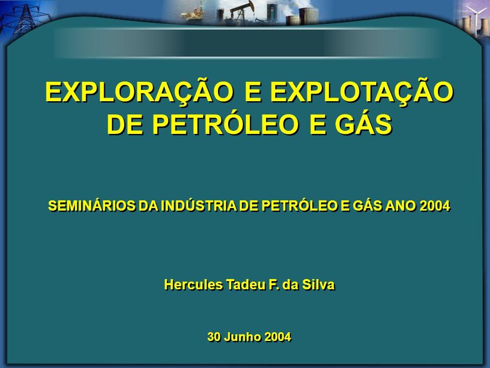 EXPLORAÇÃO E EXPLOTAÇÃO DE PETRÓLEO E GÁS SEMINÁRIOS DA INDÚSTRIA DE PETRÓLEO E GÁS ANO 2004 Hercules Tadeu F. da Silva 30 Junho 2004 EXPLORAÇÃO E EXP