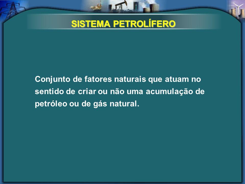 Conjunto de fatores naturais que atuam no sentido de criar ou não uma acumulação de petróleo ou de gás natural. SISTEMA PETROLÍFERO