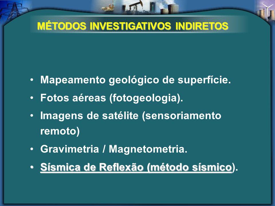 Mapeamento geológico de superfície. Fotos aéreas (fotogeologia). Imagens de satélite (sensoriamento remoto) Gravimetria / Magnetometria. Sísmica de Re