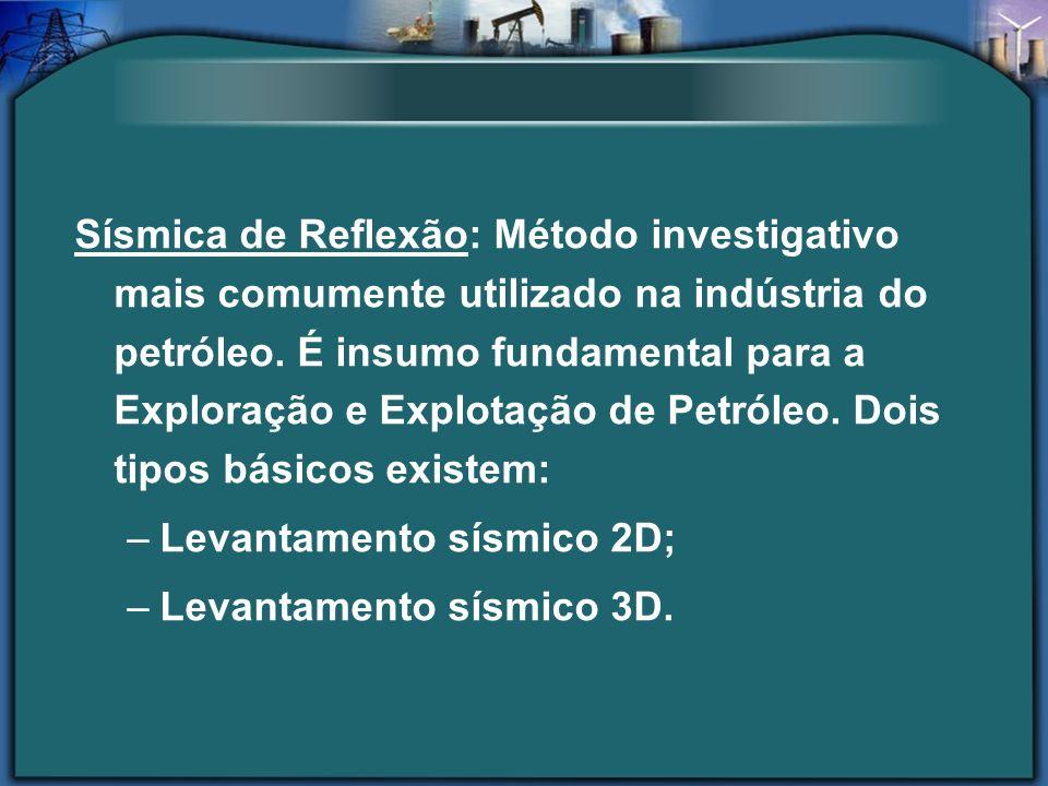 Sísmica de Reflexão: Método investigativo mais comumente utilizado na indústria do petróleo. É insumo fundamental para a Exploração e Explotação de Pe