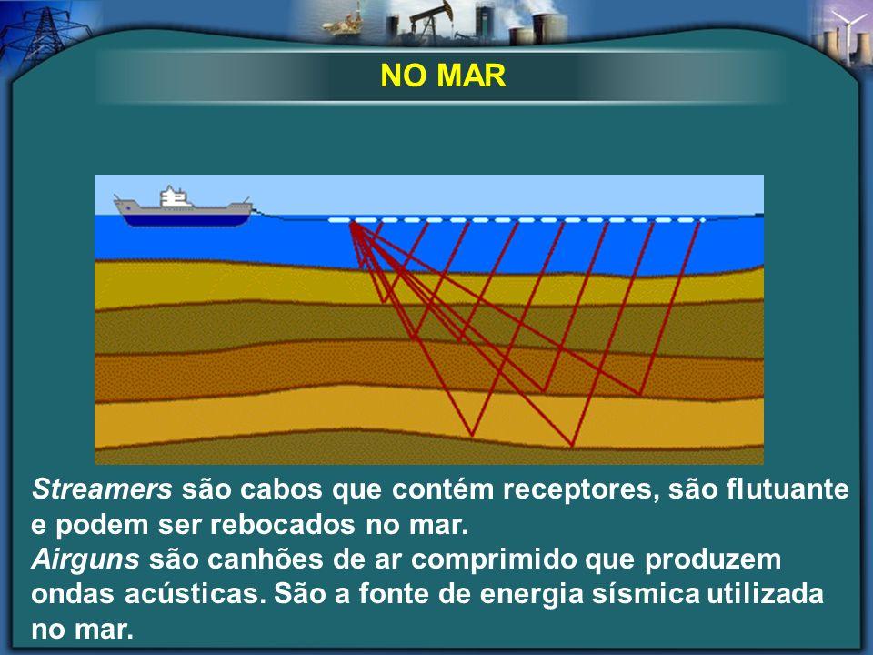 Streamers são cabos que contém receptores, são flutuante e podem ser rebocados no mar. Airguns são canhões de ar comprimido que produzem ondas acústic