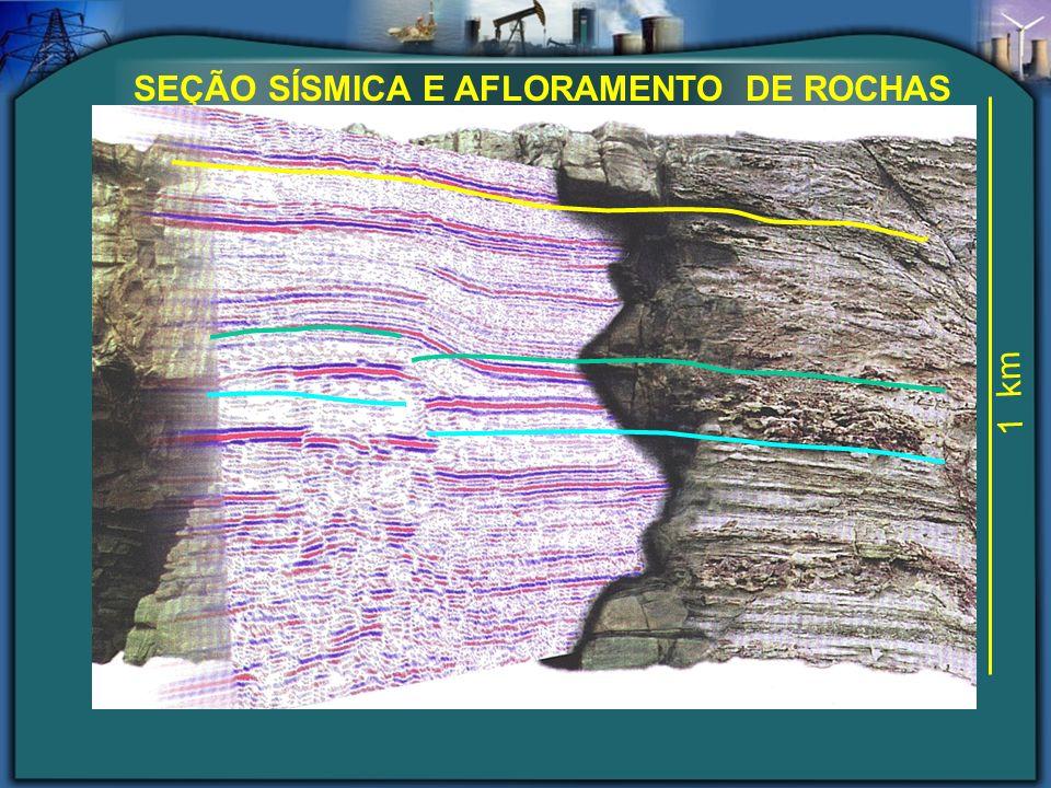 SEÇÃO SÍSMICA E AFLORAMENTO DE ROCHAS 1 km