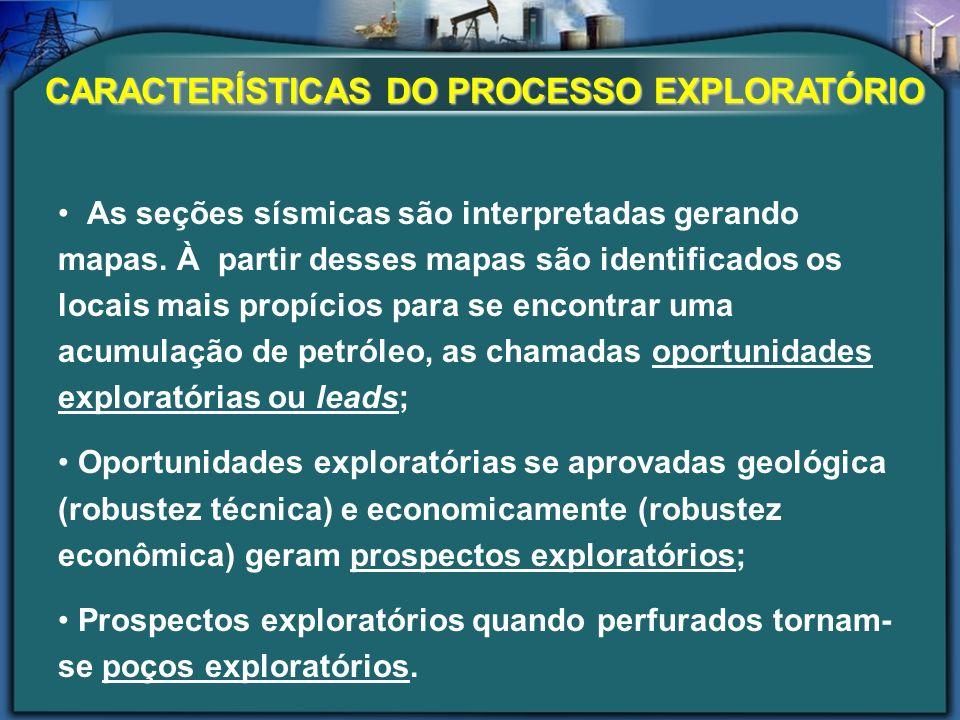 CARACTERÍSTICAS DO PROCESSO EXPLORATÓRIO As seções sísmicas são interpretadas gerando mapas. À partir desses mapas são identificados os locais mais pr