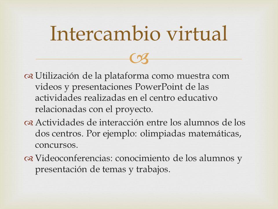 Utilización de la plataforma como muestra com videos y presentaciones PowerPoint de las actividades realizadas en el centro educativo relacionadas con el proyecto.