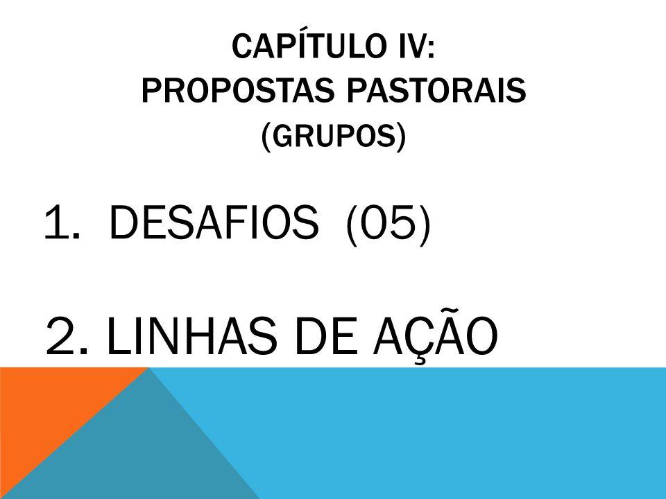 CAPÍTULO IV: PROPOSTAS PASTORAIS ( GRUPOS ) 1.DESAFIOS (05) 2. LINHAS DE AÇÃO
