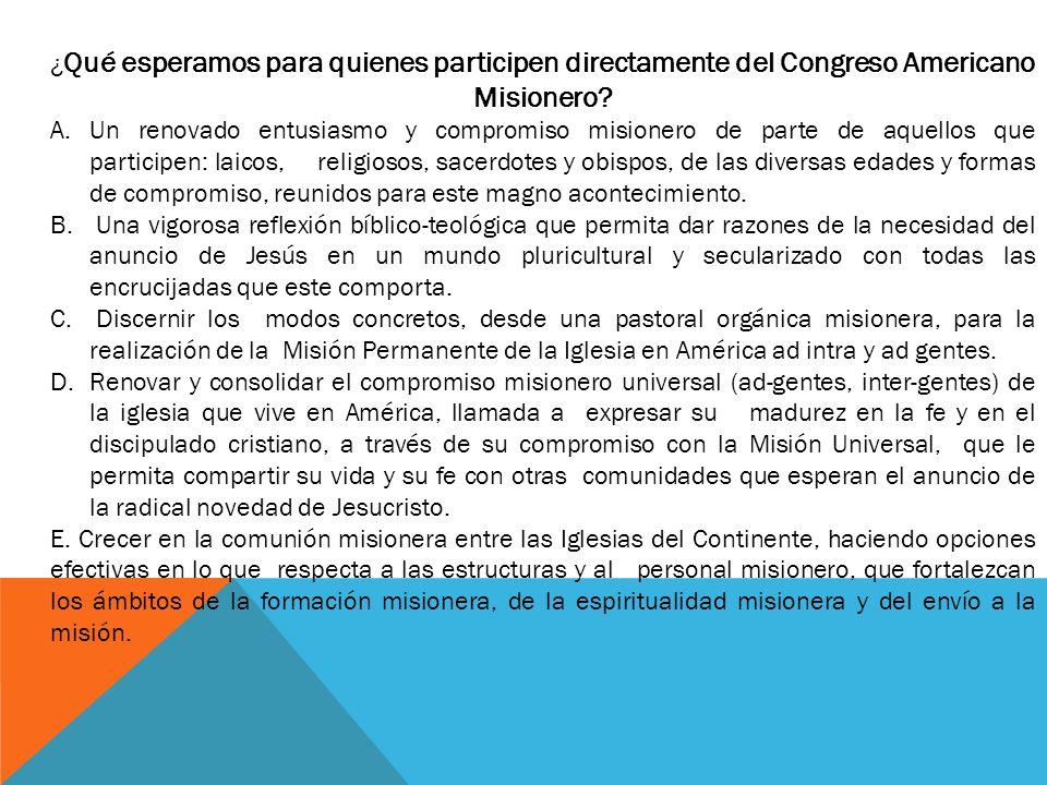 ¿ Qué esperamos para quienes participen directamente del Congreso Americano Misionero.