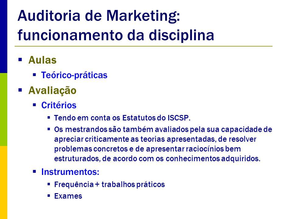 Componentes da Auditoria de Marketing – funções de marketing Auditoria das funções de marketing Força de vendas Quais os objectivos da força de vendas da empresa.
