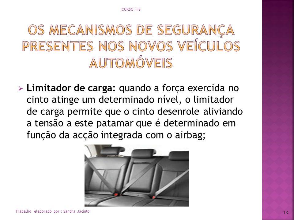 Limitador de carga: quando a força exercida no cinto atinge um determinado nível, o limitador de carga permite que o cinto desenrole aliviando a tensã