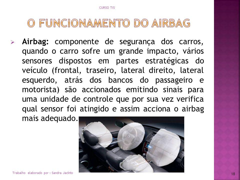 Airbag: componente de segurança dos carros, quando o carro sofre um grande impacto, vários sensores dispostos em partes estratégicas do veículo (front