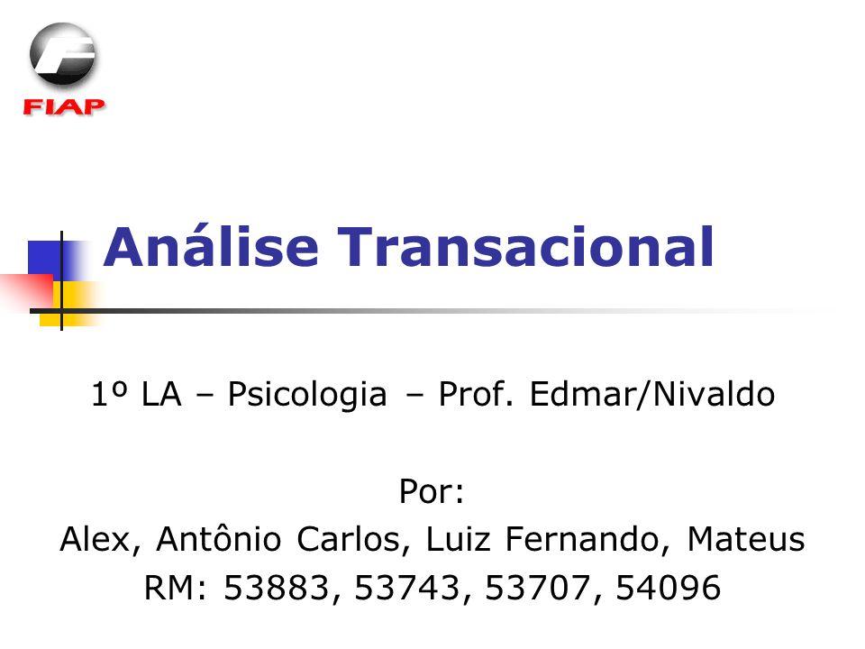 Análise Transacional 1º LA – Psicologia – Prof. Edmar/Nivaldo Por: Alex, Antônio Carlos, Luiz Fernando, Mateus RM: 53883, 53743, 53707, 54096