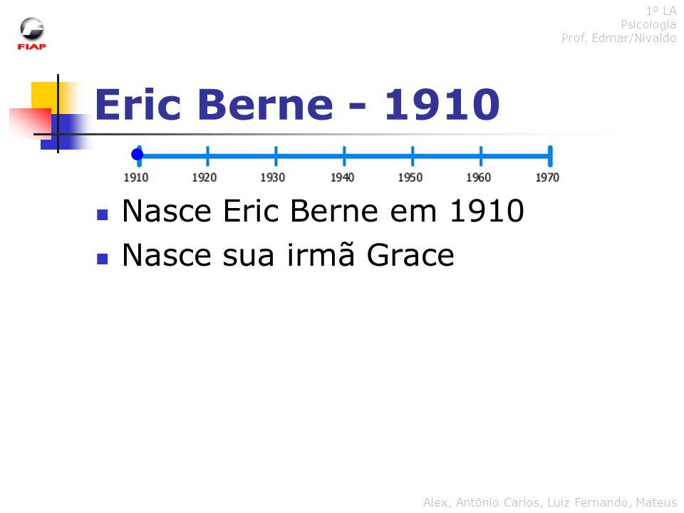 Eric Berne - 1910 Nasce Eric Berne em 1910 Nasce sua irmã Grace 1º LA Psicologia Prof. Edmar/Nivaldo Alex, Antônio Carlos, Luiz Fernando, Mateus