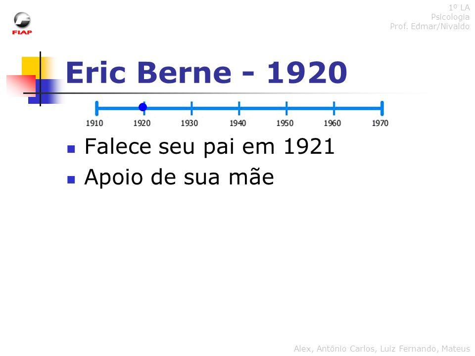 Eric Berne - 1920 Falece seu pai em 1921 Apoio de sua mãe 1º LA Psicologia Prof. Edmar/Nivaldo Alex, Antônio Carlos, Luiz Fernando, Mateus