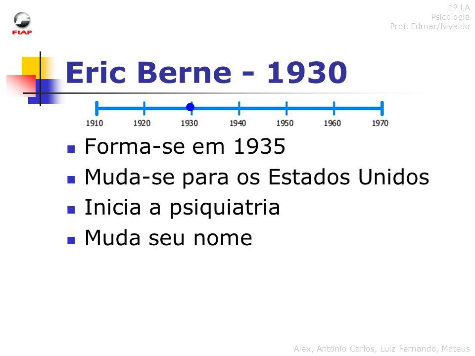 Eric Berne - 1930 Forma-se em 1935 Muda-se para os Estados Unidos Inicia a psiquiatria Muda seu nome 1º LA Psicologia Prof. Edmar/Nivaldo Alex, Antôni