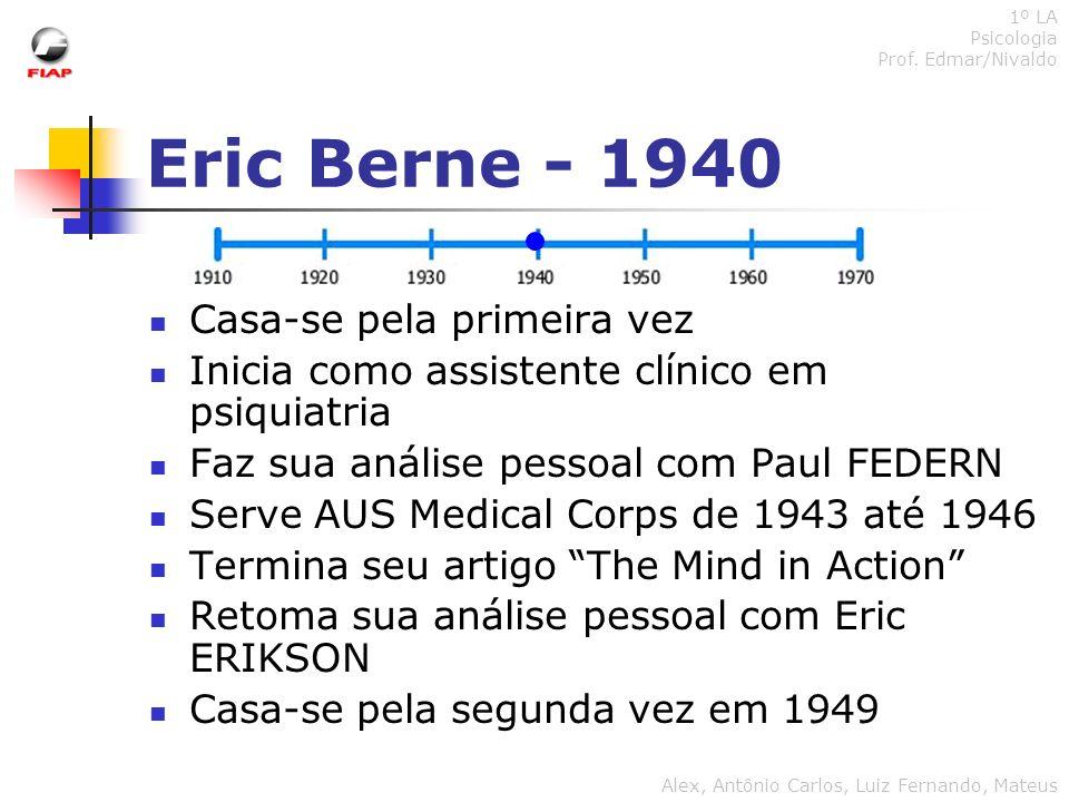 Eric Berne - 1940 Casa-se pela primeira vez Inicia como assistente clínico em psiquiatria Faz sua análise pessoal com Paul FEDERN Serve AUS Medical Co