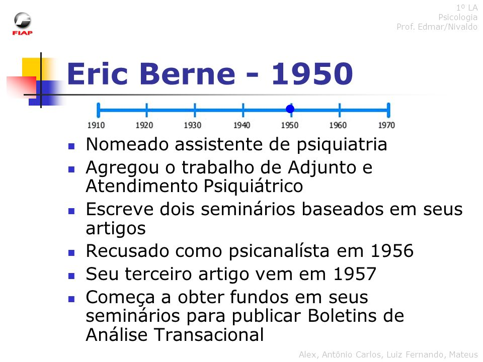 Eric Berne - 1950 Nomeado assistente de psiquiatria Agregou o trabalho de Adjunto e Atendimento Psiquiátrico Escreve dois seminários baseados em seus