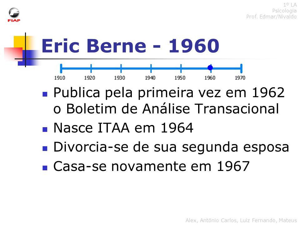 Eric Berne - 1960 Publica pela primeira vez em 1962 o Boletim de Análise Transacional Nasce ITAA em 1964 Divorcia-se de sua segunda esposa Casa-se nov