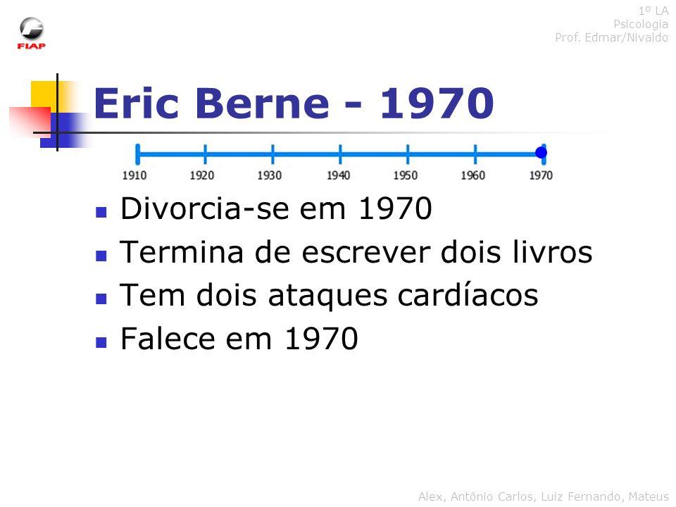 Eric Berne - 1970 Divorcia-se em 1970 Termina de escrever dois livros Tem dois ataques cardíacos Falece em 1970 1º LA Psicologia Prof. Edmar/Nivaldo A