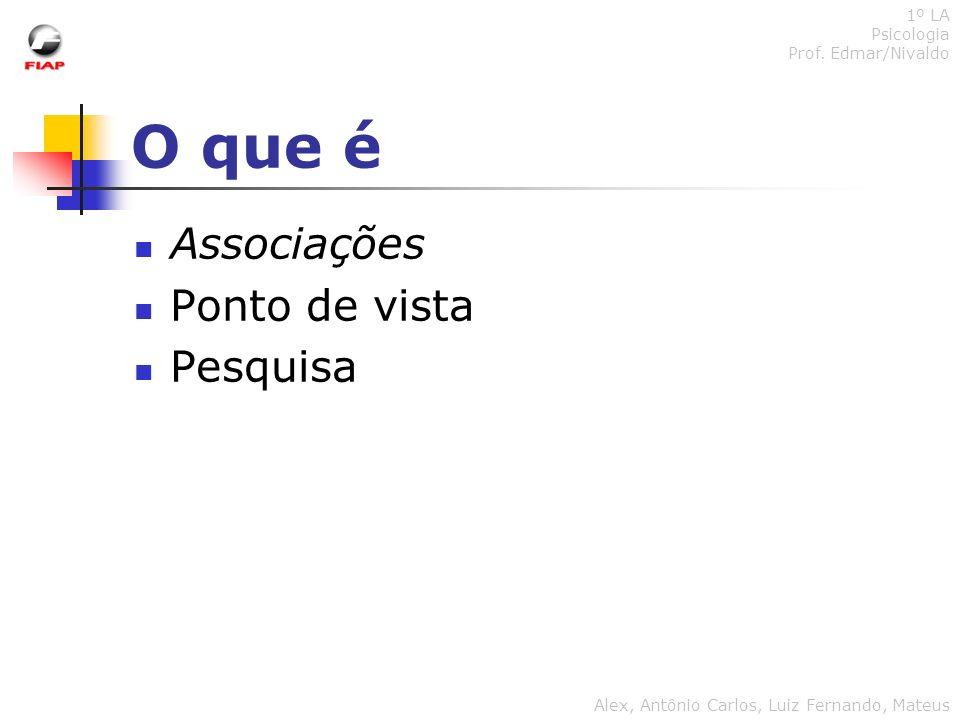O que é Associações Ponto de vista Pesquisa 1º LA Psicologia Prof. Edmar/Nivaldo Alex, Antônio Carlos, Luiz Fernando, Mateus