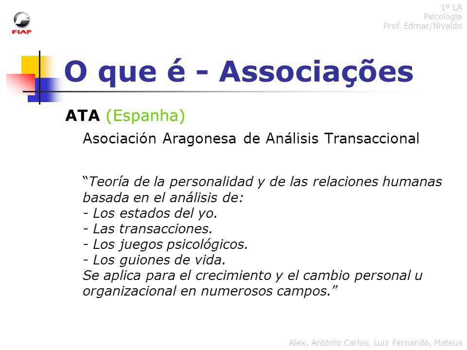 O que é - Associações ATA (Espanha) Asociación Aragonesa de Análisis Transaccional Teoría de la personalidad y de las relaciones humanas basada en el