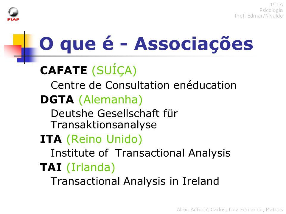 O que é - Associações CAFATE (SUÍÇA) Centre de Consultation enéducation DGTA (Alemanha) Deutshe Gesellschaft für Transaktionsanalyse ITA (Reino Unido)