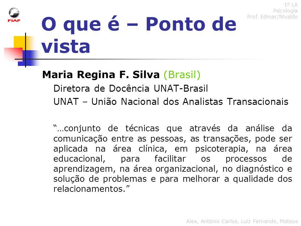 O que é – Ponto de vista Maria Regina F. Silva (Brasil) Diretora de Docência UNAT-Brasil UNAT – União Nacional dos Analistas Transacionais …conjunto d