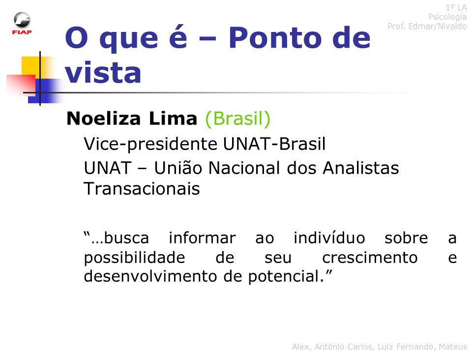 O que é – Ponto de vista Noeliza Lima (Brasil) Vice-presidente UNAT-Brasil UNAT – União Nacional dos Analistas Transacionais …busca informar ao indiví