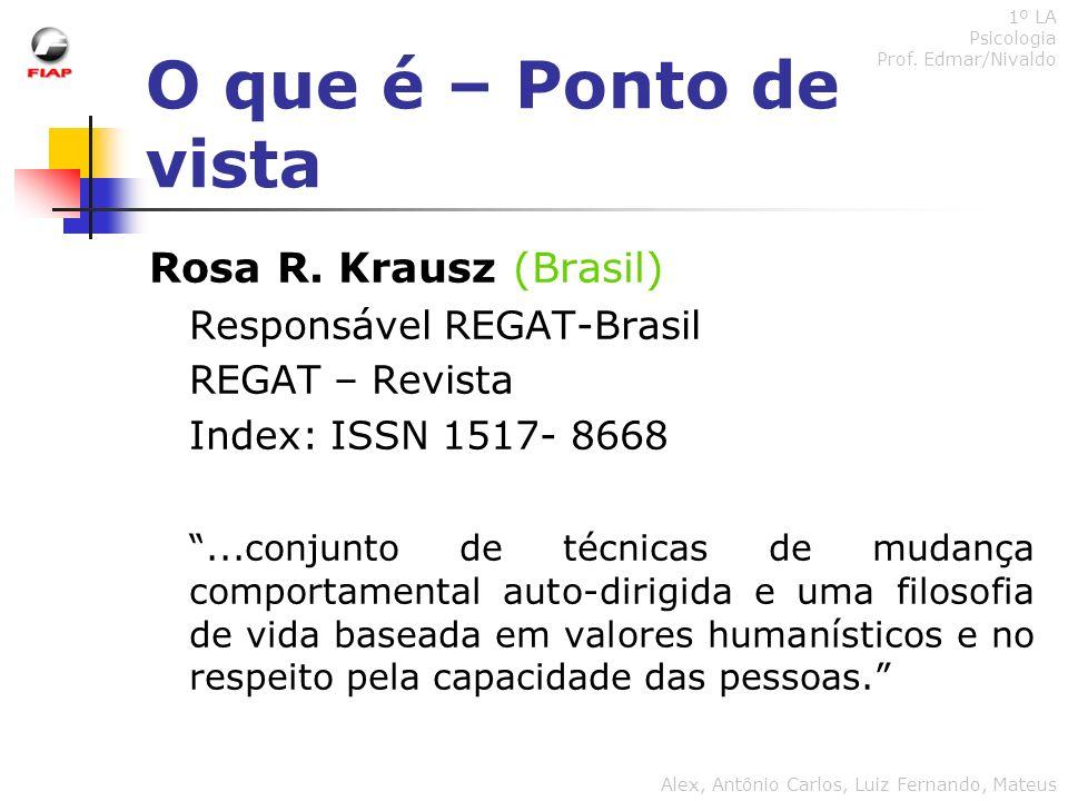 O que é – Ponto de vista Rosa R. Krausz (Brasil) Responsável REGAT-Brasil REGAT – Revista Index: ISSN 1517- 8668...conjunto de técnicas de mudança com