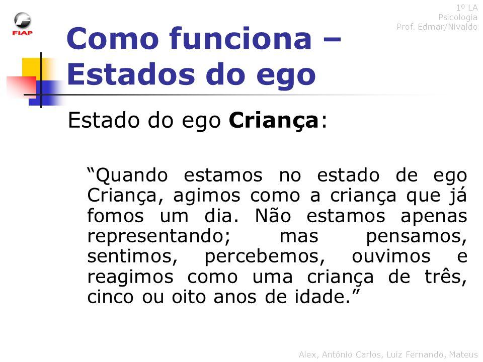 Como funciona – Estados do ego 1º LA Psicologia Prof. Edmar/Nivaldo Alex, Antônio Carlos, Luiz Fernando, Mateus Estado do ego Criança: Quando estamos