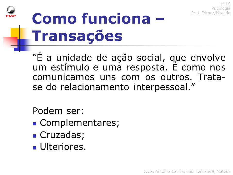 Como funciona – Transações 1º LA Psicologia Prof. Edmar/Nivaldo Alex, Antônio Carlos, Luiz Fernando, Mateus É a unidade de ação social, que envolve um