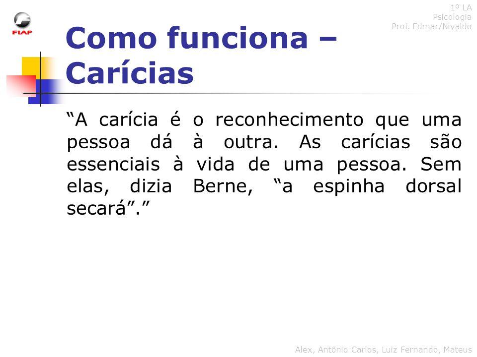 Como funciona – Carícias 1º LA Psicologia Prof. Edmar/Nivaldo Alex, Antônio Carlos, Luiz Fernando, Mateus A carícia é o reconhecimento que uma pessoa
