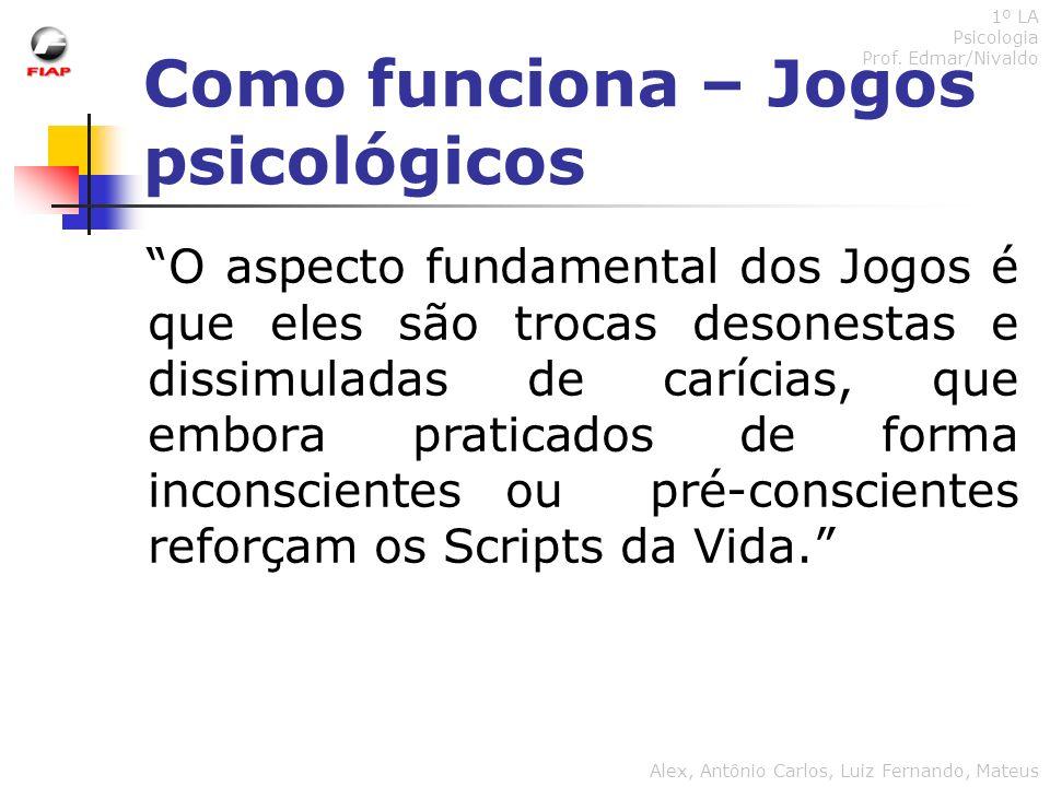 Como funciona – Jogos psicológicos 1º LA Psicologia Prof. Edmar/Nivaldo Alex, Antônio Carlos, Luiz Fernando, Mateus O aspecto fundamental dos Jogos é