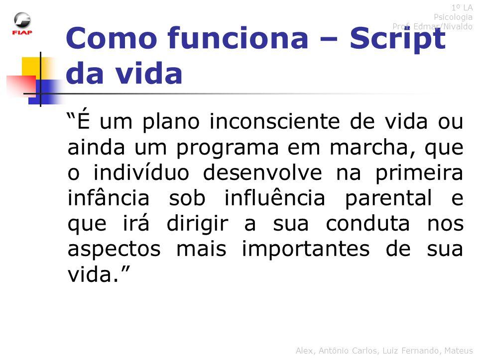 Como funciona – Script da vida 1º LA Psicologia Prof. Edmar/Nivaldo Alex, Antônio Carlos, Luiz Fernando, Mateus É um plano inconsciente de vida ou ain