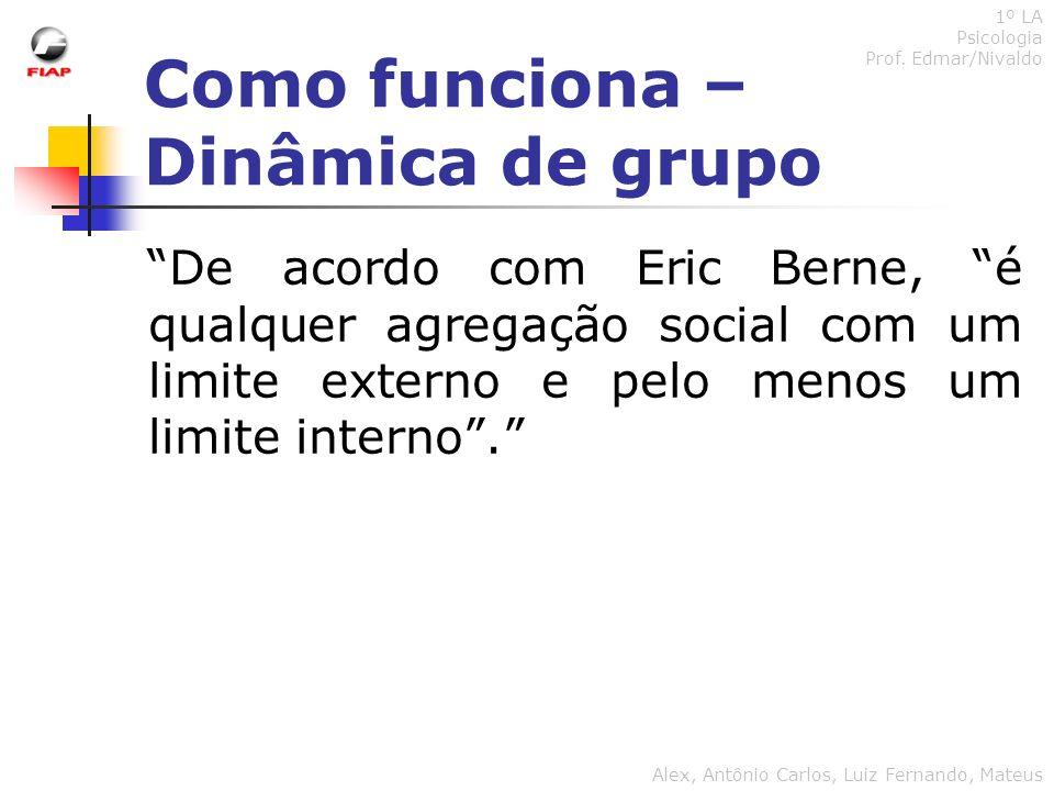 Como funciona – Dinâmica de grupo 1º LA Psicologia Prof. Edmar/Nivaldo Alex, Antônio Carlos, Luiz Fernando, Mateus De acordo com Eric Berne, é qualque