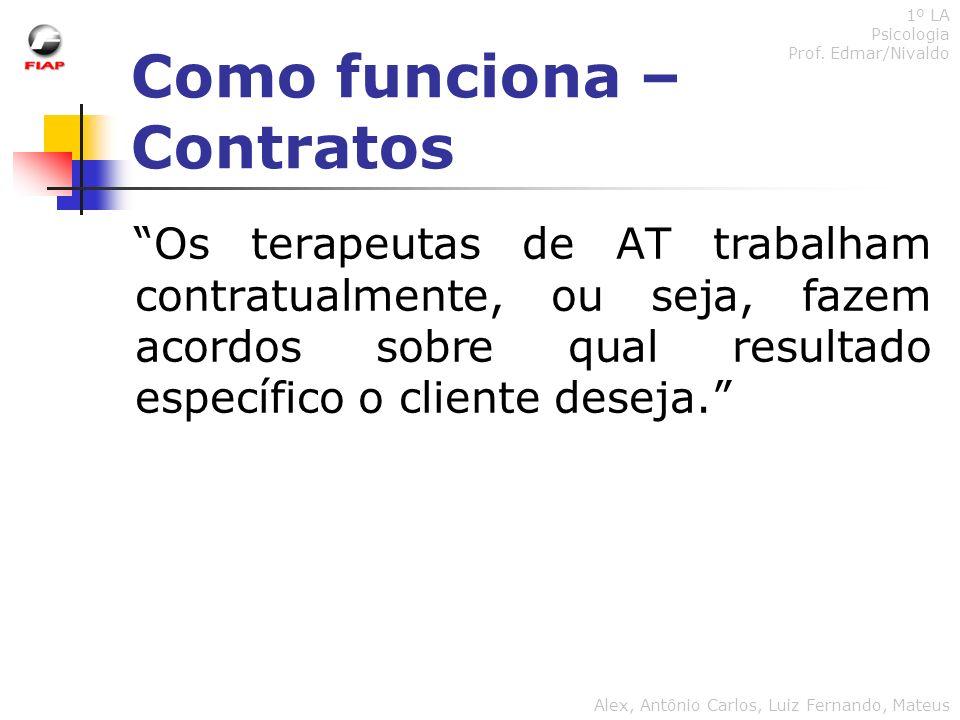 Como funciona – Contratos 1º LA Psicologia Prof. Edmar/Nivaldo Alex, Antônio Carlos, Luiz Fernando, Mateus Os terapeutas de AT trabalham contratualmen