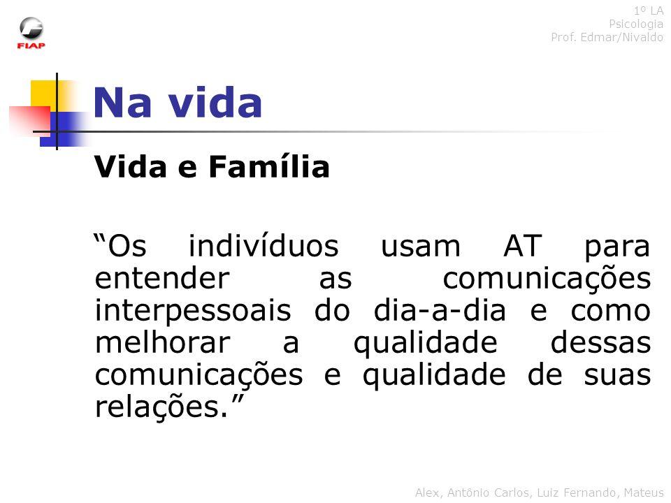 Na vida 1º LA Psicologia Prof. Edmar/Nivaldo Alex, Antônio Carlos, Luiz Fernando, Mateus Vida e Família Os indivíduos usam AT para entender as comunic