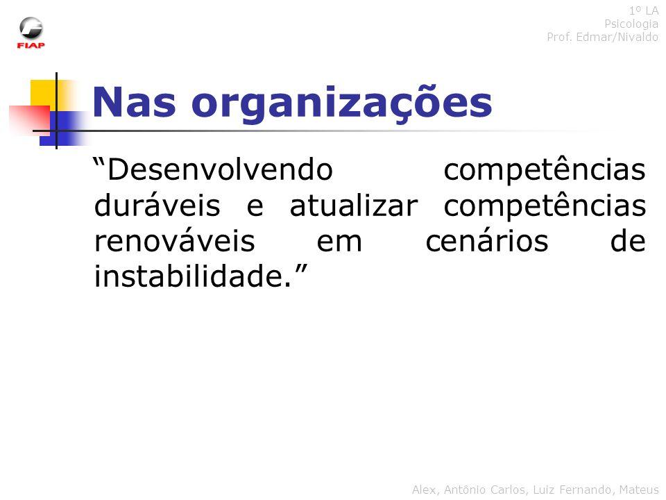 Nas organizações 1º LA Psicologia Prof. Edmar/Nivaldo Alex, Antônio Carlos, Luiz Fernando, Mateus Desenvolvendo competências duráveis e atualizar comp