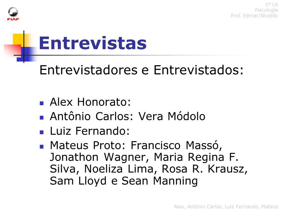 Entrevistas 1º LA Psicologia Prof. Edmar/Nivaldo Alex, Antônio Carlos, Luiz Fernando, Mateus Entrevistadores e Entrevistados: Alex Honorato: Antônio C