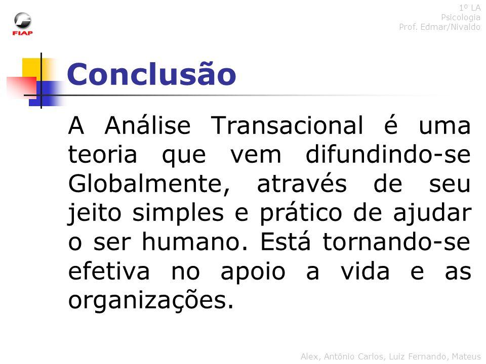 Conclusão 1º LA Psicologia Prof. Edmar/Nivaldo Alex, Antônio Carlos, Luiz Fernando, Mateus A Análise Transacional é uma teoria que vem difundindo-se G