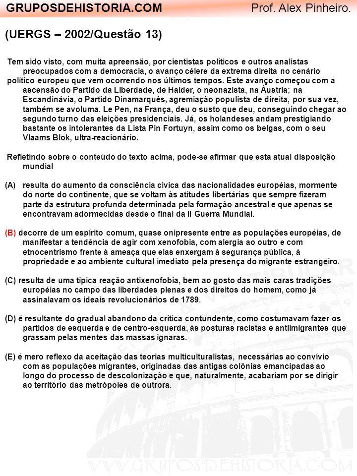 GRUPOSDEHISTORIA.COM Prof. Alex Pinheiro. (UERGS – 2002/Questão 13) Tem sido visto, com muita apreensão, por cientistas políticos e outros analistas p